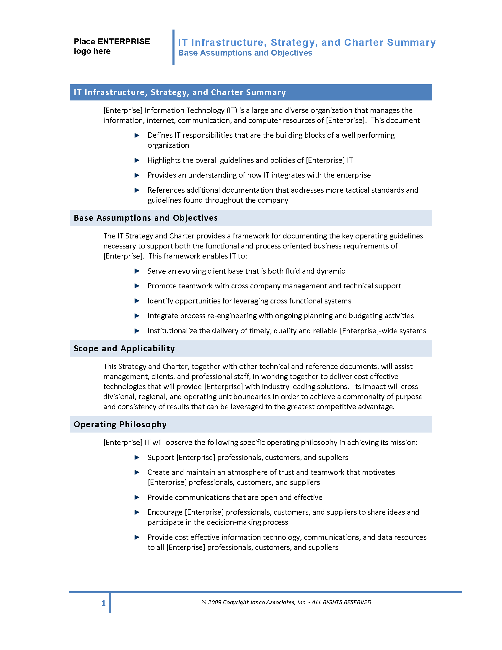 It governance infrastructure strategy and charter template for Customer care charter template